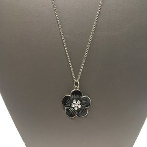 Black & Silver Flower Necklace